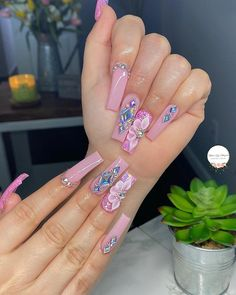 Stylish Nails, Trendy Nails, Cute Nails, Stylish Outfits, Cute Acrylic Nail Designs, Best Acrylic Nails, Pink Nails, Glitter Nails, Candy Bouquet Diy