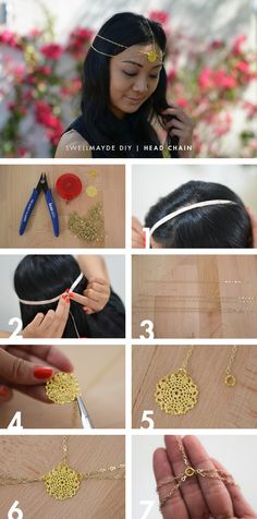 DIY Gold Head Chain Complete your festival look with this gold head chain! Coachella Diy, Disfraz Wonder Woman, Look Body, Hair Chains, Head Jewelry, Jewellery, Mode Boho, Diy Hair Accessories, Summer Accessories