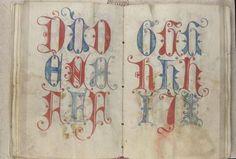 "Alphabet lombard du ""D"" au ""J""  / Lombard script / medieval scribal pattern / by Gregorius Bock, 1510-1517 / Ger..."