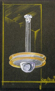 Drawing depciting an Art Deco style chandelier, Kunstzin (Manufacturer, possibly), circa 1920 to 1925. #artdeco