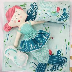 Coral Queen of the Sea Doll Panel by Stacy Iest Hsu for Moda