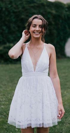 2017 homecoming dress, white homecoming dress, short homecoming dress, straps short white lace homecoming dress with criss cross