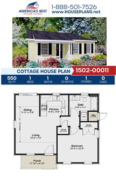 Complete with 550 sq., Plan delivers a Cottage home with 1 bedroom, 1 bathroom, and an open floor plan. Guest House Plans, Cottage House Plans, Small Cottage Homes, Small House Floor Plans, Simple House Plans, House Plans One Story, Small Cottages, Dream House Plans, Backyard Cottage