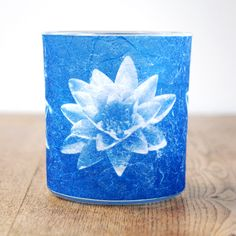 Blue Water lily cyanotype candle holder  £15.00