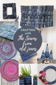 The seams of old jeans are often neglected when upcycling denim.  But they are also fun to craft with and can add a unique element and interest to a jeans craft project.  #denimseams #beltloops Easy Sewing Projects, Sewing Projects For Beginners, Cool Diy Projects, Sewing Crafts, Craft Projects, Sewing Ideas, Fabric Placemats, Felt Roses, Jean Crafts