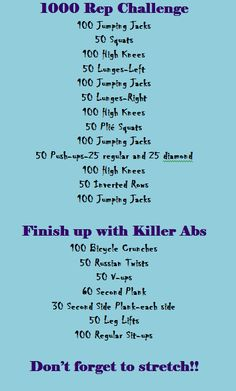 1000 Rep Challenge is part of health-fitness - health-fitness 1000 Rep Challenge, Workout Challenge, At Home Workout Plan, At Home Workouts, Cardio Workouts, Outdoor Workouts, 1000 Calorie Workout, Calorie Burning Workouts, Cardio Training