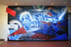 Applewood hts SS School Mural depicting Albert Einstein and sciences School Murals, Albert Einstein, Ss, Custom Design, Painting, Painting Art, Paintings, Painted Canvas, Drawings