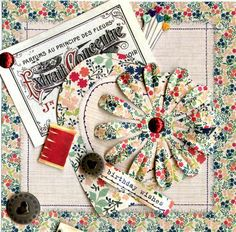 Papermania 6 x 6 Paper Pack - Sew Lovely, big bloomers, die-cut notelets, Cute Button decoupage, Madame Payraud's Vintage labels.