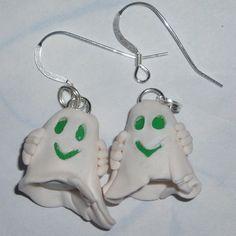 Ghost Earrings Smiley Green Eyes Fimo Halloween.  http://www.judesjewels.co.uk/ourshop/prod_1605976-Ghost-Earrings-Smiley-Green-Eyes-Fimo-Halloween.html