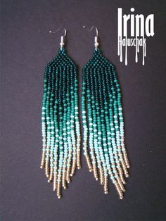 Beautiful beaded modern gradation from emerald to light gold earrings with fringe. Very lightweight. Fusion between ethnic style and modern elements. Original design.  Measurements: Length - 9 cm Width - 2 сm  Materials: Silver plated ear hooks Czech glass beads Nylon Thread Patience and Creativity!:)  .. ready to be given away !  Contact me if you have any questions. I will be happy to answer :)