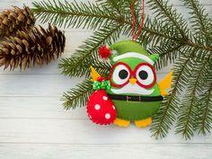 Christmas ornaments Santa ornament Christmas tree ornament Owl gift Owl decor Decorative owls Owl home decor Felt animals Woodland decor by BrightTalesByKvitka on Etsy https://www.etsy.com/listing/471726121/christmas-ornaments-santa-ornament