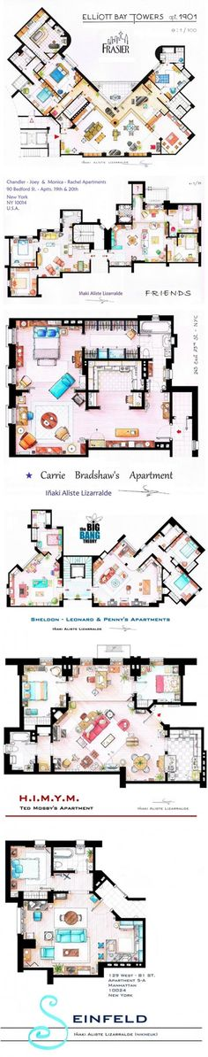 Architecture floor plans for TV Show apartments - Fraiser, Friends, Sex in the City, Big Bang Theory, H.I.M.Y.M. and Seinfeld.