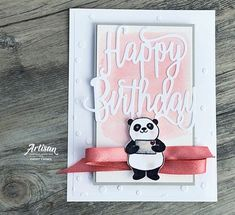 Birthday card featuring Party Pandas stamp collection by Stampin' Up! | Designed by Cathy Caines | Creative Scrapbooker Magazine