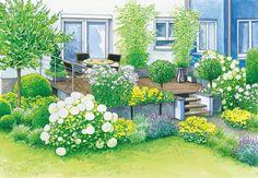 Die höher gelegene Terrasse wirkt in diesem Garten wie ein Fremdkörper. Wir präsentieren zwei Gestaltungsideen, wie man sie harmonisch in die Gartengestaltung integriert, inklusive Pflanzplänen zum Herunterladen. #gartengestaltung #vorhernacher