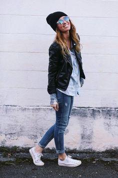 sneakers, jacket, beanie = ultimate cool