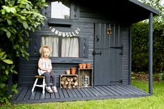 Painting an old wendy house playhouse and turning it into a dark grey stylish shed with Cuprinol urban slate garden paint Painted Garden Sheds, Garden Sheds Uk, Painted Shed, Backyard Sheds, Playhouse Outdoor, Outdoor Sheds, Cuprinol Urban Slate, Shed Paint Colours, Kids Shed
