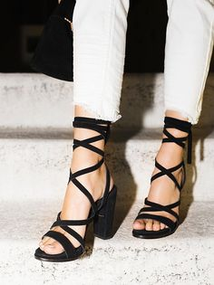 """Ella Strappy Heel - freepeople.com  I LOVE these, I want them so bad... but until they make them in """"mens"""" 11.5, """"womens"""" 12W/13, euro 45, I guess I'm out of luck.."""