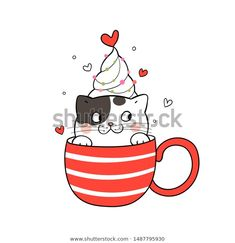 Find Draw Illustration Cute Cat Red Cup stock images in HD and millions of other royalty-free stock photos, illustrations and vectors in the Shutterstock collection. Cat Doodle, Doodle Cartoon, Cartoon Art, Christmas Drawing, Christmas Paintings, Valentines Watercolor, Conversational Prints, T Shirt Painting, Handmade Tags