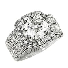 """Round Brilliant Cut Engagement Ring """"Gabriella"""" 2.90 H SI2 Center, EGL USA certified, surrounded by 2.60 Cts. Round & Princess Cuts diamonds."""