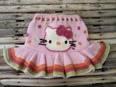 knitted Hello Kitty skirt, I'm not good at knitting but I bet it wouldn't be too difficult to crochet Crochet Girls, Cute Crochet, Crochet For Kids, Crochet Baby, Knit Crochet, Knitting For Kids, Baby Knitting Patterns, Knitting Yarn, Crochet Patterns