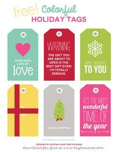 Free Printable Colorful Christmas Gift Tags