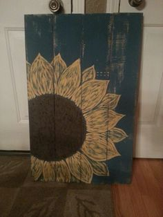 Sunflower pallet sign with our last name and wedding date :) LOVE <3