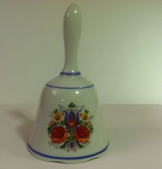 "Reutter Porzellan Ceramic White Floral Bell 5.5"" Tall Germany #Germany #reutter #collectible #bell #keepsake"