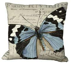 Black White & Blue Butterfly 20x20 or 18x18 or by Soeuralasoeur, $35.00