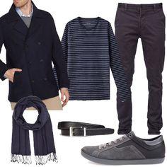 Per quest'outfit ho scelto un caban in panno blu navy, dei pantaloni modello chino blu antracite non troppo attillati, una t-shirt blu a righe grigie e una sciarpa preziosa firmata Hugo Orange che vi accompagnerà per tutto l'inverno. Infine comode scarpe grigie della Geox con soletta traspirante e una cintura.