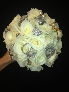 Wedding Bouquet with broaches -- custom designed at The Orange Poppy ... 216 W Schulz St Marion, TX 78124 830.914.4438