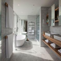 21 Wapping Lane: A luxury London penthouse apartment - Adelto Open Bathroom, Simple Bathroom, Bathroom Interior, Design Bathroom, Master Bathroom, Bathroom Ideas, Master Tub, Neutral Bathroom, Bathroom Modern