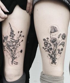 tender foot studio floral geometric tattoo