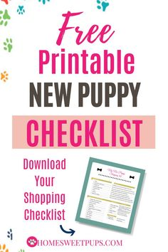 Free Printable New Puppy Shopping Checklist - Puppies Tips, Dogs And Puppies, New Puppy Checklist, Puppy Training Tips, Leash Training, Training Videos, Potty Training, Puppy Stages, Puppy Supplies