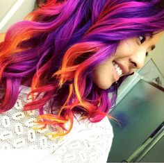 { from perfect idea to have a sunset hair color combo! D… - New Hair Design Blonde Ombre Hair, Purple Hair, Red Purple, Neon Hair, Purple Ombre, Bright Purple, Orange Pink, Grey Balayage, Sunset Hair