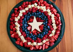 Avengers Cap Fruit Platter Can Also use mini marshmallows instead of small white cheese squares.