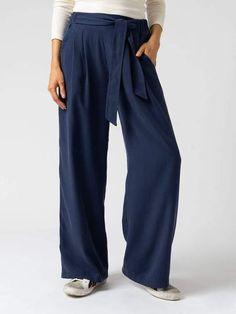 Women's Tencel Pant. Blue. Pimlico Pant | Saint and Sofia USA