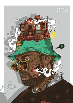 "Personal Illustration for a Rapper known as ""Schoolboy Q"". Arte Do Hip Hop, Hip Hop Art, Photographie Street Art, Crea Design, Pop Art, Mode Hip Hop, Dope Cartoons, Rapper Art, Graffiti Painting"