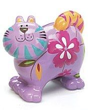 Hand Painted Pottery Cat Bank