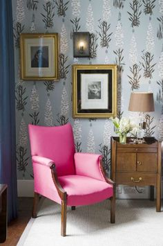 Iscoyd Park wedding venue in Shropshire -Lovely detail of the Foxglove bedroom and bright pink chair!