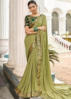 Navyaa Lycra Saree in Light Green Indian Designer Sarees, Indian Sarees, Black Women Fashion, Womens Fashion, Saree Wedding, Sarees Online, Lehenga, Classic Style, Sari