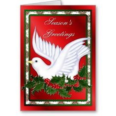 Christmas Dove and Holly Greeting Card.  Matching inside design and verse.