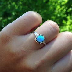 Navajo Blue Opal Ring www.indieandharper.com Blue Opal Ring, Opal Rings, Indie And Harper, Jewelry Box, Jewellery, Turquoise Rings, Bobs, Navajo, Birthstones