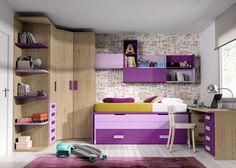 Dormitorio infanitl con compacto de 2 camas y armario en chaflán.