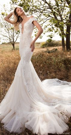 gala galia lahav spring 2017 illusion off shoulder cap sleeves deep vneck mermaid wedding dress (702) mv