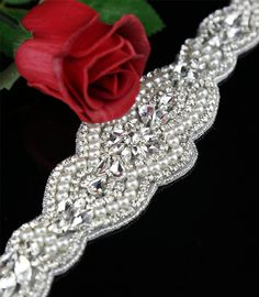 QueenDream crystal applique Bridal and bridesmaids accessories DIY Rhinestone applique Bridal crystal belt Applique trim, * Check out the image by visiting the link.