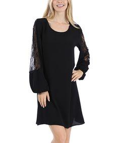 Look at this #zulilyfind! Black Lace Sleeve A-Line Dress by 42POPS #zulilyfinds