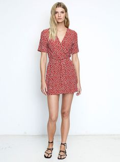 Faithfull the Brand Luna Dress – Pin Up Bow Print Red