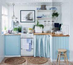 blue countryside kitchen, blue kitchen cabinets