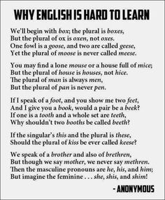 Funny pictures about Why English is hard to learn. Oh, and cool pics about Why English is hard to learn. Also, Why English is hard to learn. The Words, Me Quotes, Funny Quotes, Short Funny Poems, Statements, Teaching English, Learn English, English Grammar, Learn French