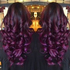 Top 20 Choices to DYE Your Hair Purple - Black Purple Ombre Hair Color, wonderful balayage hairstyle Dyed Hair Purple, Hair Color Purple, Hair Colors, Burgundy Hair, Dark Purple, Purple Wine, Curly Hair Styles, Natural Hair Styles, Gorgeous Hair